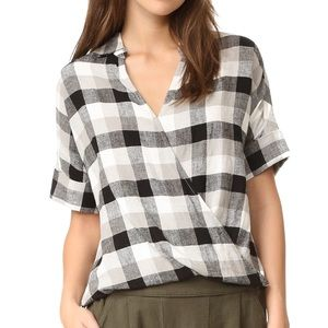 Madewell plaid linen courier drape front top